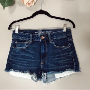 American Eagle high rise shortie denim shorts